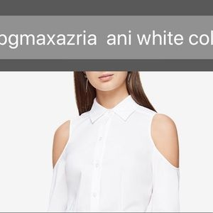 BCBG white cold shoulder blouse